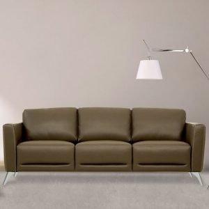 Strick & Bolton Muska Taupe Leather Sofa