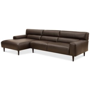 Closeout! Nevanna 2-Pc. Leather Sofa with Chaise, Created for Macy's