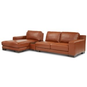 Darrium 3-Pc. Leather Chaise Sofa with Console, Created for Macy's