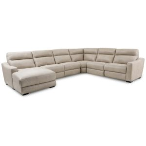 Gabrine 6-Pc. Leather Sectional with 2 Power Headrests & Chaise, Created for Macy's