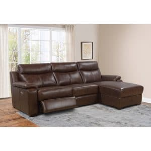 Abbyson Miles 3 Piece Top Grain Leather Sectional with Chaise