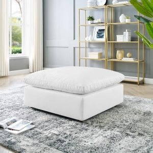 Commix Down Filled Overstuffed Vegan Leather Ottoman