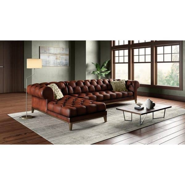 Gaga Top Grain Leather Chesterfield Sectional with Chaise