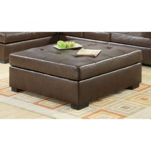 Gustavo Contemporary Bonded Leather Ottoman