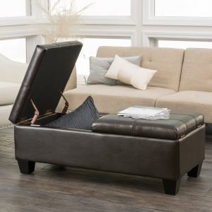 Merrill Chocolate Brown Leather Storage Ottoman by Christopher Knight Home
