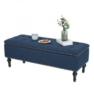 PHI VILLA Modern Rectangle Button-Tufted Storage Ottoman Bench with Fabric and Leather