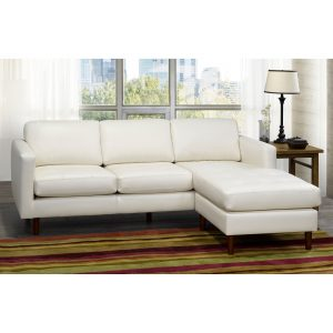 Ray Mid Century Modern Ivory Top Grain Leather Tufted Sectional Sofa - 88 x 38 x 35