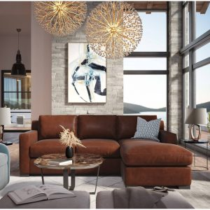 Santiago Top Grain Leather Modular Sectional w/ Chaise, Russet Red-Brown