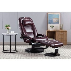 Top-grain Leather Swivel Recliner with Ottoman