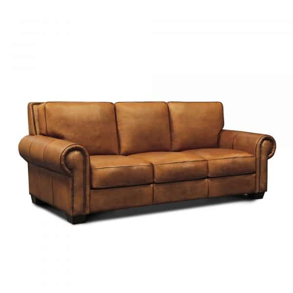 Valencia Top Grain Hand Antiqued Leather Traditional Sofa